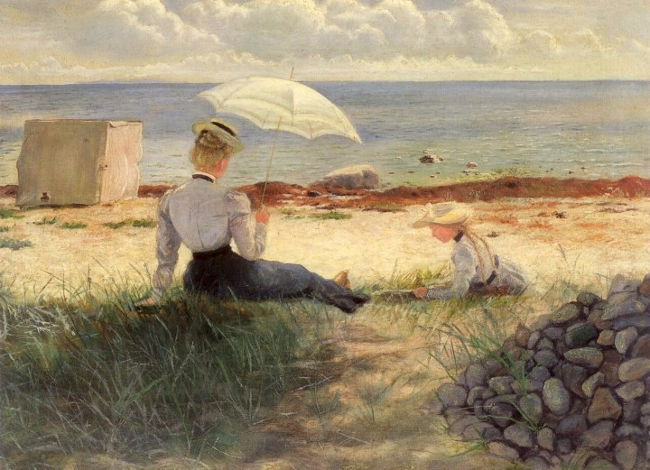 Emma Minnie Boyd (attrib.) Woman with Parasol and a Girl on the Beach, Sandringham oil on canvas 51 x 68 cm