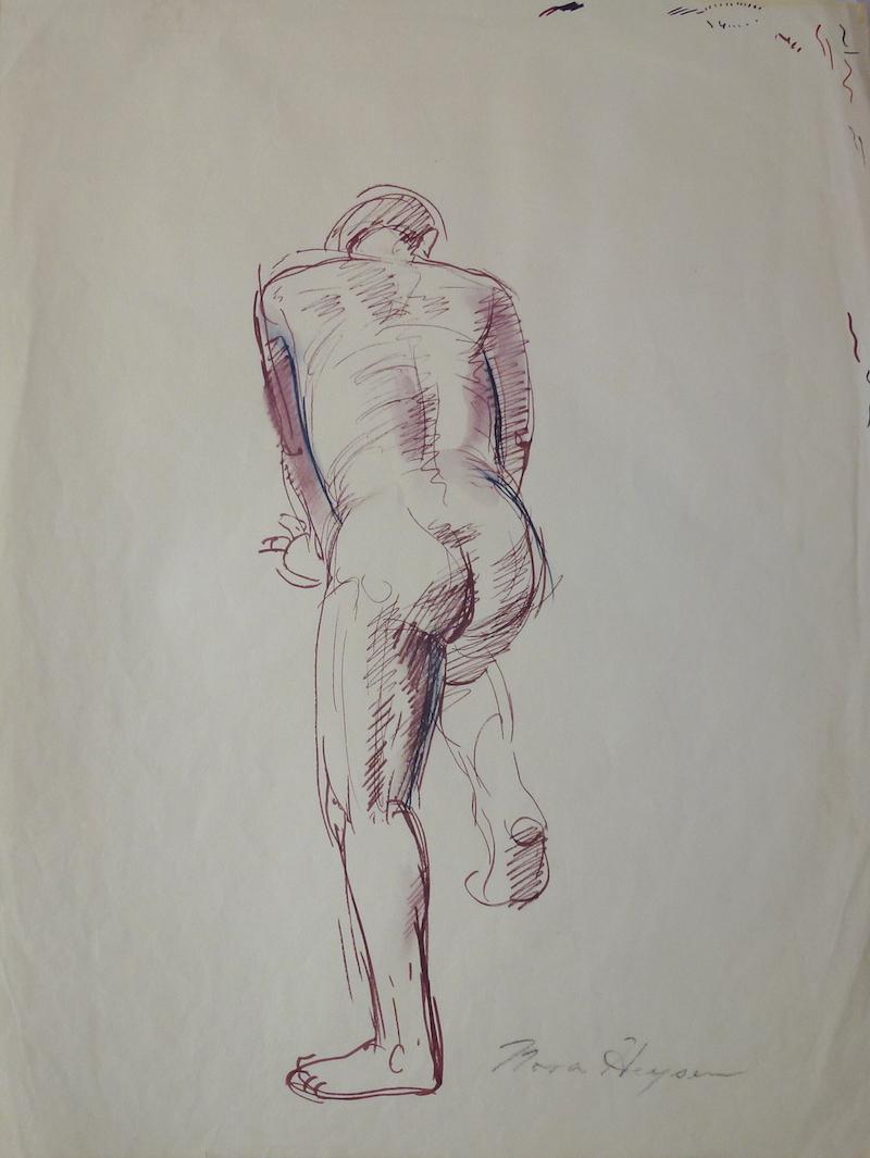 Nora Heysen Male Nude - Back Study