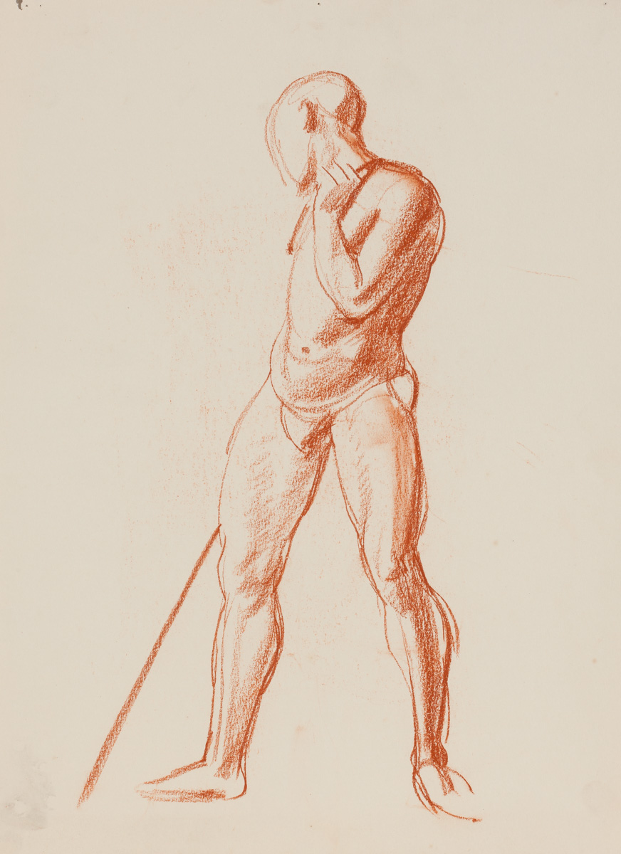 Nora Heysen Standing male with pole 215224