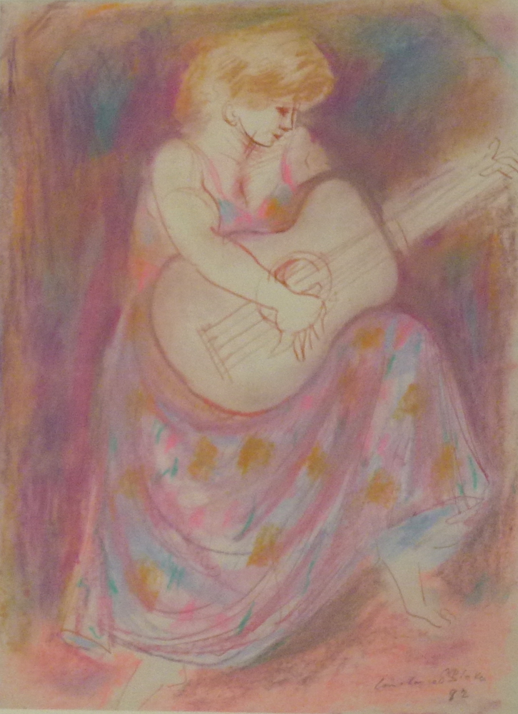 217099 STOKES Woman Playing a Guitar