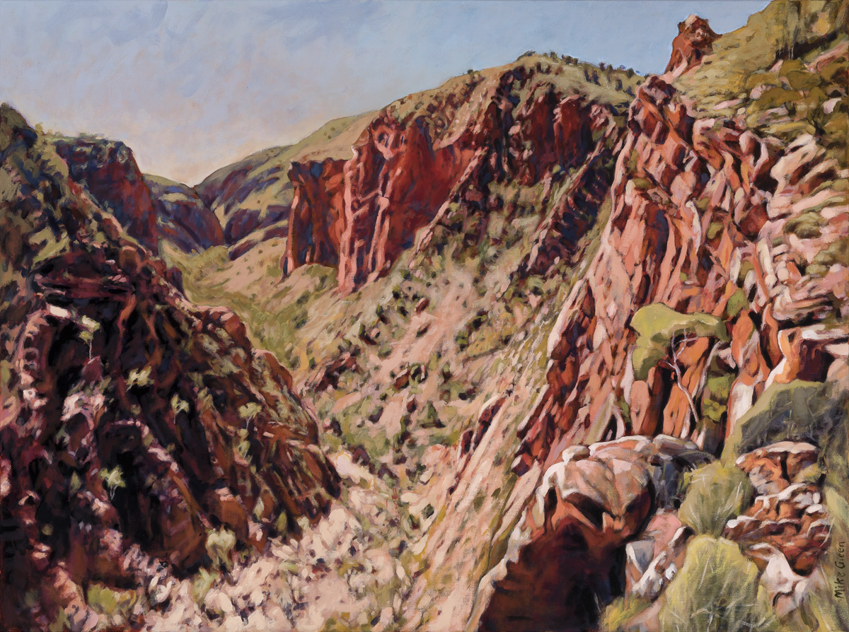Overlooking Ulpma, (Serpentine Gorge) 76 x 101cm. synthetic polymer on canvas. Signed Mike Green
