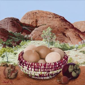 Still Life with Eggs. Kata tjuta, detail 15 x 15cm. synthetic polymer on canvas. Jent Green 2018