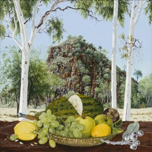 Still Life with Fruit, at 'Black Man Waiting', Alice Springs.30x30cm. synthetic polymer on canvas. Janet Green 2018