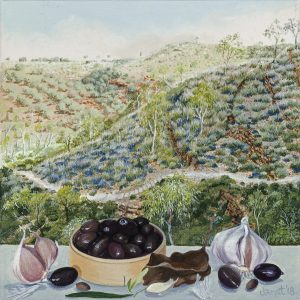 Still Life with Olives and Garlic, Kwartatuma.(Ormiston Gorge.).15 x 15cm. synthetic polymer on canvas. Janet Green 2018