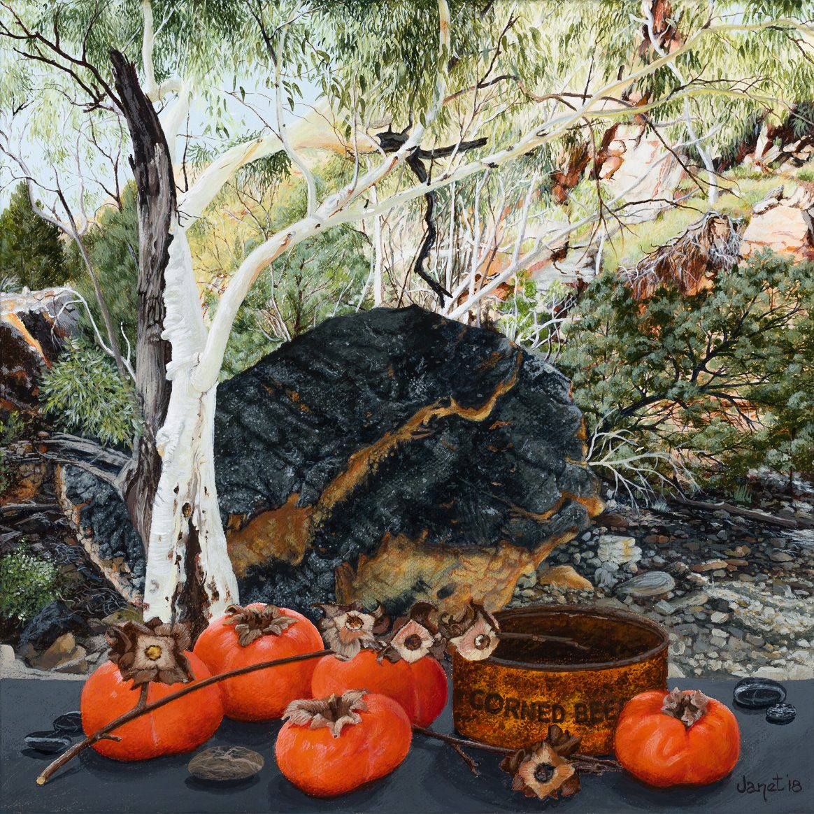 Still Life with Persimmons, Angkerle, (Standley Chasm), Janet Green 2018