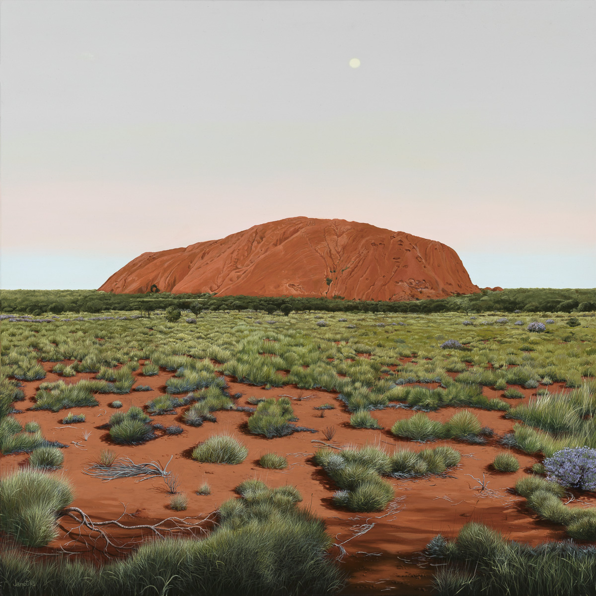 Uluru, 91 x 91cm. synthetic polymer on canvas. Janet Green 2018