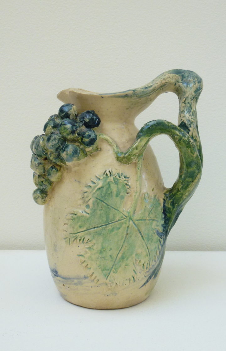 BOYD MERRIC - Jug with landscape & Grape Design Vine Form Handle