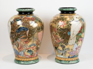 Bowers Pair of Cockatoo Chintz Vases